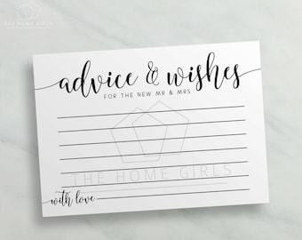 Advice and Wishes Cards Mr and Mrs  / Calligraphy Printable Advice for Bride and Groom / Newlyweds / Wedding Advice Card / Instant Download
