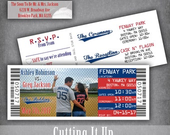 Baseball Wedding Ticket Invitations Sports Invitation