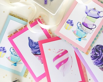 Greeting Card Sets Greeting Card Packs 4 Blank Greeting Cards Set Holiday Cards Ice Cream Cards Blank Note Cards Envelopes Pack Stationery