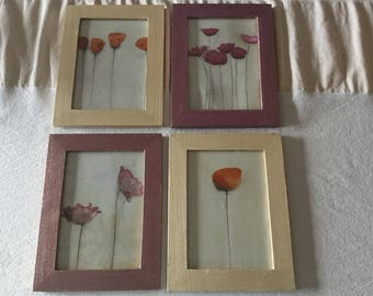 4 Frames with acrylic paint