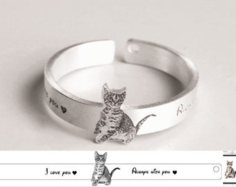 Dog Photo Ring, Portrait Ring, Pet Photo Jewelry, Sterling Silver Picture Ring, Engraved Photo Rings, Family Ring, Adjustable Photo Ring