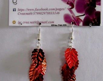 red leaf earring