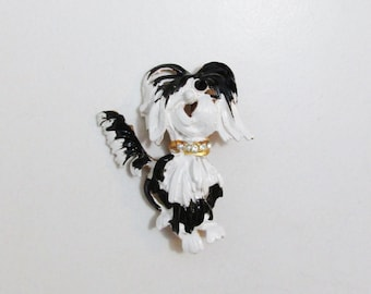 Vintage Brooch: Black and White Shaggy Dog, Original by Robert