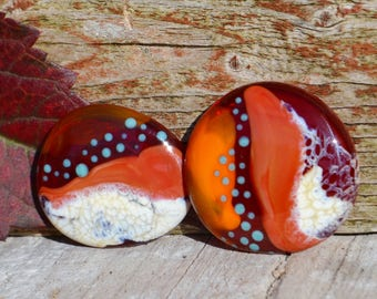 Lampwork cabochons, glass sra cabochon pair in southwestern coral turquoise blue red for Southern style embroidery jewelry making red river