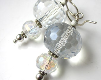 Crystal Lantern Earrings - Mystic Quartz and Sterling