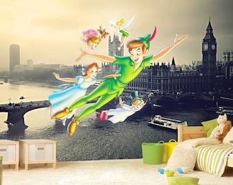 Peter Pan Wall mural, Neverland Wallpaper, Wall décor, Wall decal, Nursery and room décor, Wall art