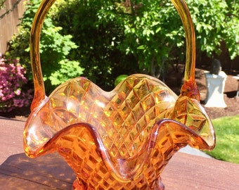 Glass Basket Amber Diamond Quilted with a Ruffled Edge