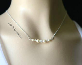 Sterling Silver Necklace, Bridesmaid Necklace, Swarovski Pearl, Pearl Crystal Necklace, Simple Pearl Jewelry, Sister Gift, Bridal Necklace