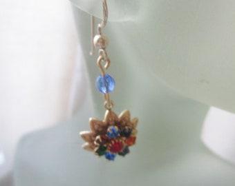 Sparkling Rhinestone Flower Earrings. Golden Colorful Dangles. Multicolor Earrings. Pendants d'Oreilles. Made in Sweden