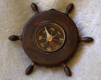 Vintage Souvenir Metal Compass from Groton Connecticut-1950's