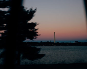 View of the Washington Monument from a Taxi
