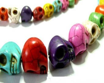 10 pearls natural 10 mm dyed Howlite stone skulls