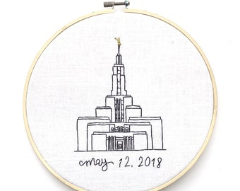 Custom Embroidered LDS Temple Hoop or Frame