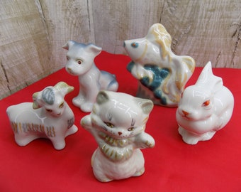 Vintage porcelain small animals figurine Original Soviet Ukrainian porcelain Polonnoe 70's Puppy Little fish kitten bunny ram flock animals