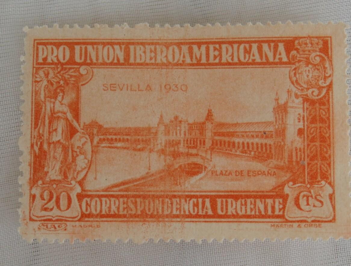 1930 pro union iberoamericana 20 cts orange stamp urgent - Orange en sevilla ...