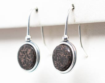 Copper Firebrick - Antique Sterling Silver - 10 mm Round Earrings