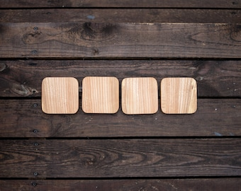 Solid wood coaster 98mm (set of 4)