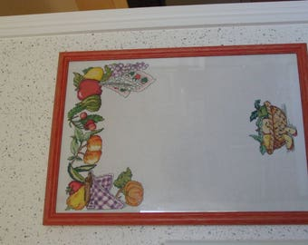 think embroidery frame, beast, fruit theme