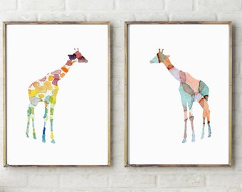 Giraffe Watercolor Paintings - Giclee Prints - Set of 2 - Nursery Animal Art - Animal Painting - Giraffe illustrations