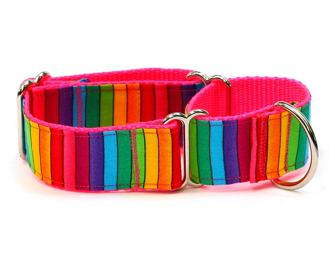 "Whippet Dog Collar - Bright Rainbow Stripes - 1.5"" Martingale Dog Collar"