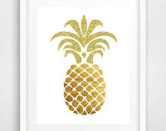 Gold glitter, pineapple, art print, gifts for teenage girls, poster, tropical fruit, shabby chic decor, digital art, modern wall art