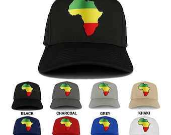 Green Yellow Red Africa Map Embroidered Iron on Patch Adjustable Baseball Cap  (27-079-AFRICA-12)