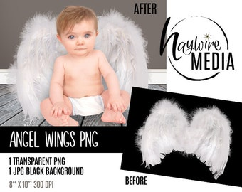 White Angel Wings Transparent PNG Digital Photography Prop - Instant Download