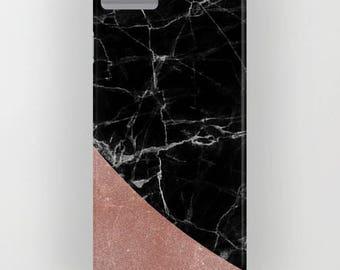 Marbre noir avec Rose Gold 1 motif sur la housse de portable - iPhone 8, iPhone X, marbre, marbre noir, Rose Gold, Samsung Galaxy