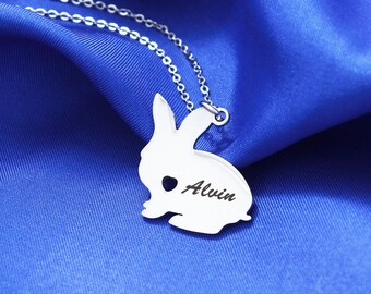 Custom Bunny Necklace, Pet Rabbit Jewelry, Personalized Bunny, Bunny Rabbit Pendant, Loss Pet, Custom Pet, Bunny Lover, Rabbit Jewelry