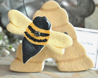 Honey Bee and Hive Salt Dough Hanging Ornament Bumble Bee Gift Ideap