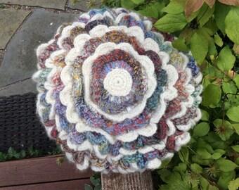 Large Flower Wool Pillow