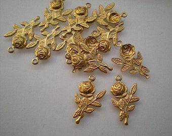 12 small brass rose charms