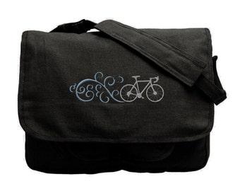 Bike Bag, Bicycle Messenger Bag, Race Bik Bag, Fancy Bike Embroidered Canvas Messenger Bag