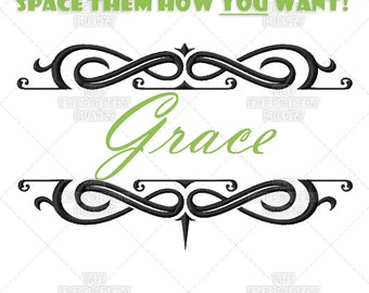 Grace Monogram Font Frame Machine Embroidery Pattern Design