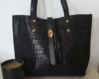 Handbag Tote women, black Croc effect leather