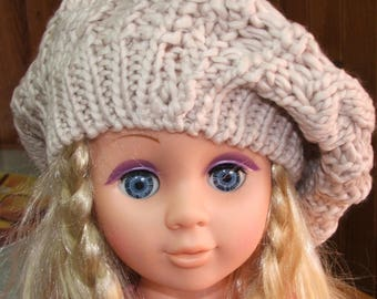 Beret made of acrylic yarn - one size - beige