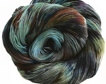 "Sock yarn, superwash BFL nylon, hand dyed, TREAD ""Dune Road At Dusk"", 465 yds."