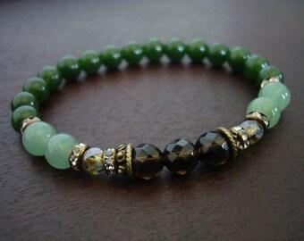 Women's Positivity & Prosperity Mala Bracelet // Jade and Smoky Quartz Mala Bracelet // Yoga, Buddhist, Meditation, Mala Beads, Yoga Jewelry