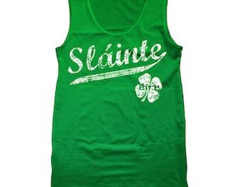 Slainte Irish Cheers Clover Funny Gaelic Celtic Party Pride Tank Top DT0410