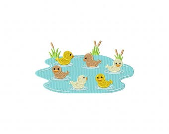ducks duclings swimming in a pond embroidery design