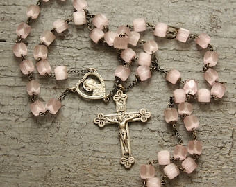 Vintage Rosary Sterling Cross Cut Pink Frosted Glass Beads