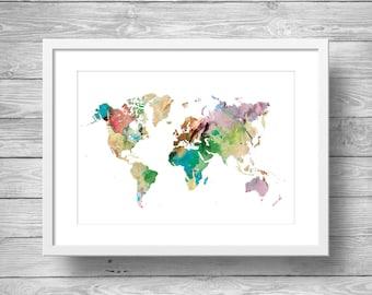 Printable art, Rainbow Watercolor world map, Printable wall art, Printable Geography wall art,Printable watercolor world map, travel decor