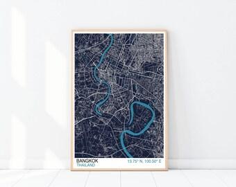 Bangkok Map Print, Blueprint Edition, Custom Map Print, City Map Print, Thailand Map, Wall Art, Street Map, Bangkok Map Print