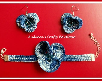 Crochet Pansy Flower Earrings and Bracelet SET (Cotton/Embroidery floss)