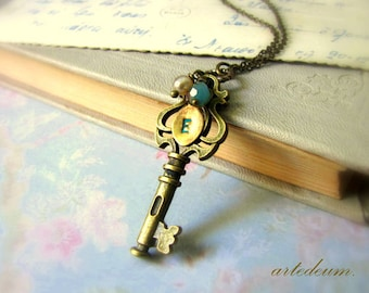 Small key necklace personalized with custom initial in antique bronze with blue teardrop crystal christmas gift for her xmass