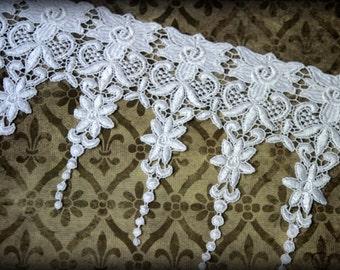 "Lace Fabric Trim, Lace Fabric, Guipure Lace, Venice Lace, Bridal Lace, Costume Design, Lace Applique, Crafting, approx. 6.50"" GL-008"