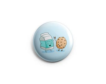 Best friends button - Cookie and Milk - 1.25 inch pinback button or magnet -  best friends badge, friendship pin