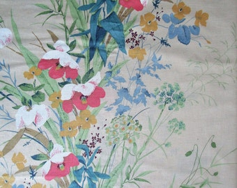 Vintage 1980s Fabric House n Home Floral Ivory Green Cotton Home Décor Material