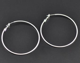 Lot 10 hoop Silver earrings 50mm - SC09192-