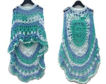 Crochet Poncho Sea Foam Long Circular Asymmetric Shawl Pullover Handmade Handcrochet Unbalanced Design